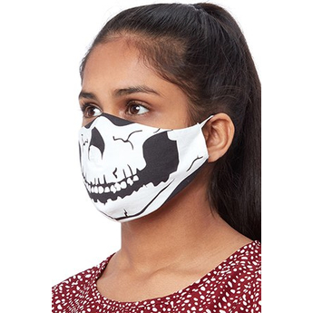 Reusable Face Mask Black With Skull Print