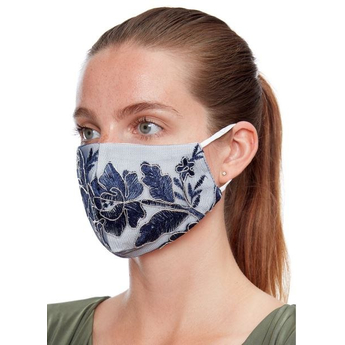 Foral Reusable Face Masks - White& Blue