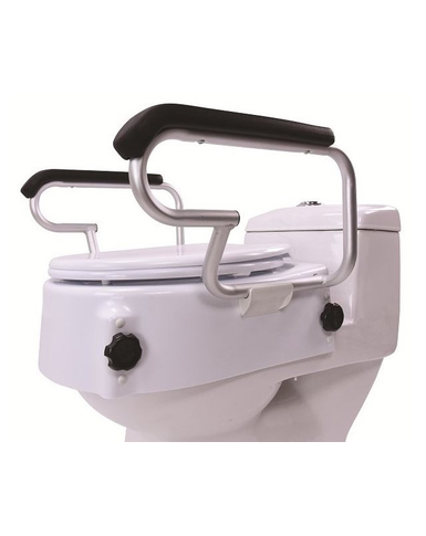 Raised Toilet Seat With Lid And Armrests